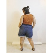 Short Jeans Clochard Plus Size Básico Dark