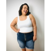 Short Jeans Com Botões E Barra Dobrada Plus Size