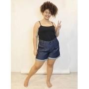 Short Jeans Slouchy com Pregas Dark Plus Size