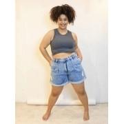 Short Jeans Slouchy com Pregas Marmorizado Plus Size