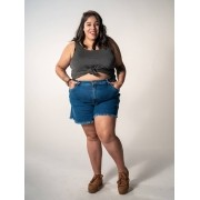 Short Mom Jeans Plus Size com Barra Desfiada