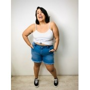 Short Mom Jeans Plus Size Detonado com Barra Desfiada