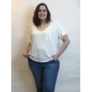 T-shirt Decote V Corte A Fio Plus Size