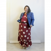 Vestido de Viscose com estampa em Poá Plus Size