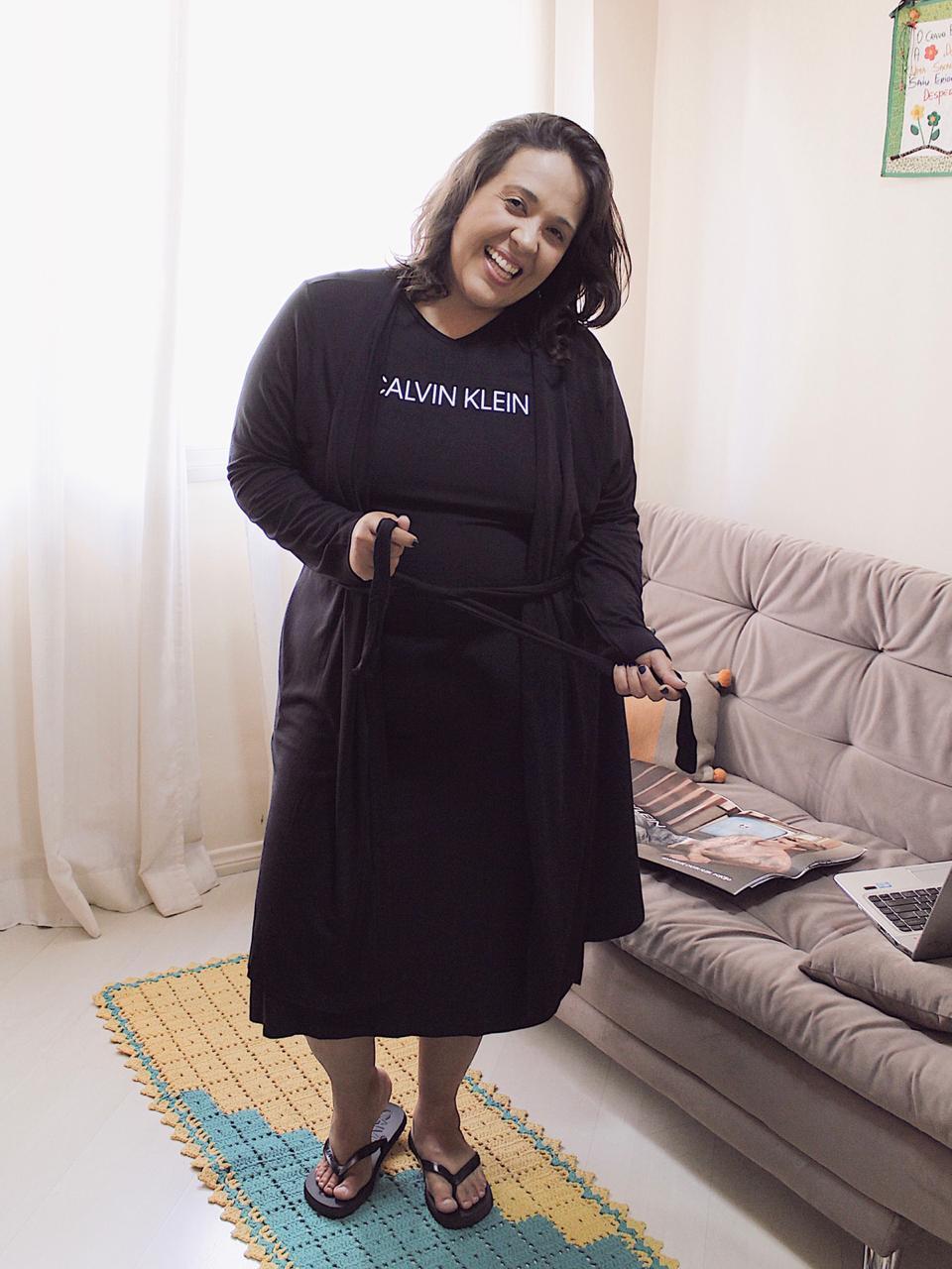 Robe Manga Longa Viscolight Calvin Klein Plus Size - Preto