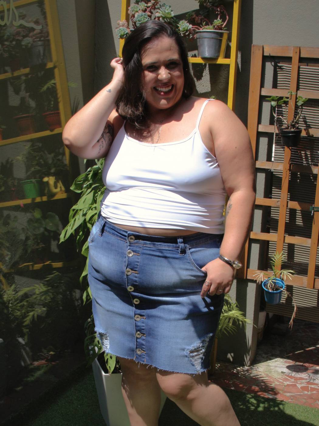 Saia Jeans Plus Size Destroyed