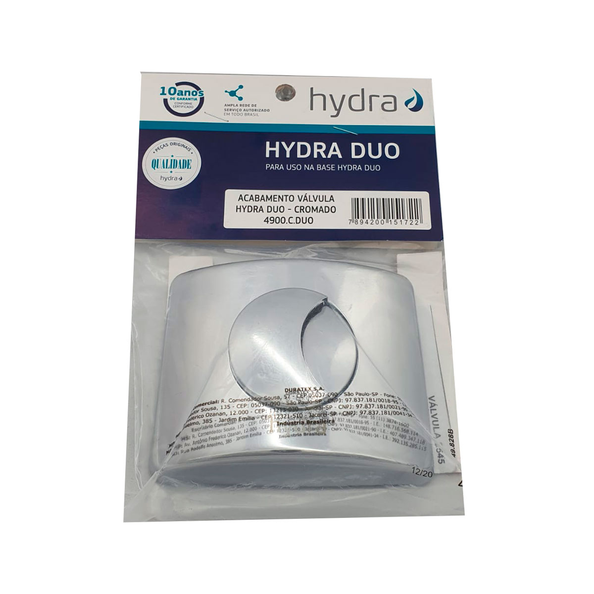 Acabamento Válvula Descarga Hydra Duo Cromado Deca
