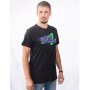 Camiseta preta com estamp. Onda Dura riscado roxo e verde