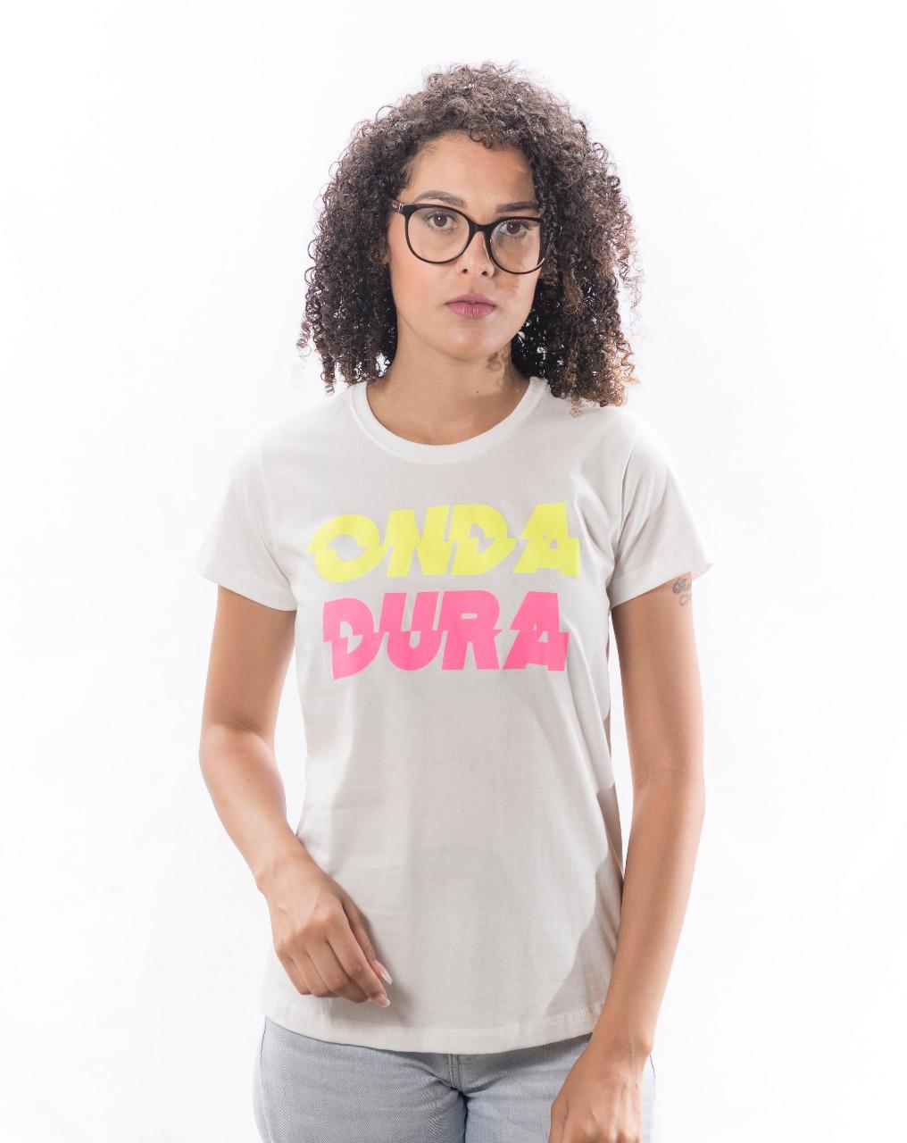 Babylook branca Onda Dura duo neon rosa e amarelo