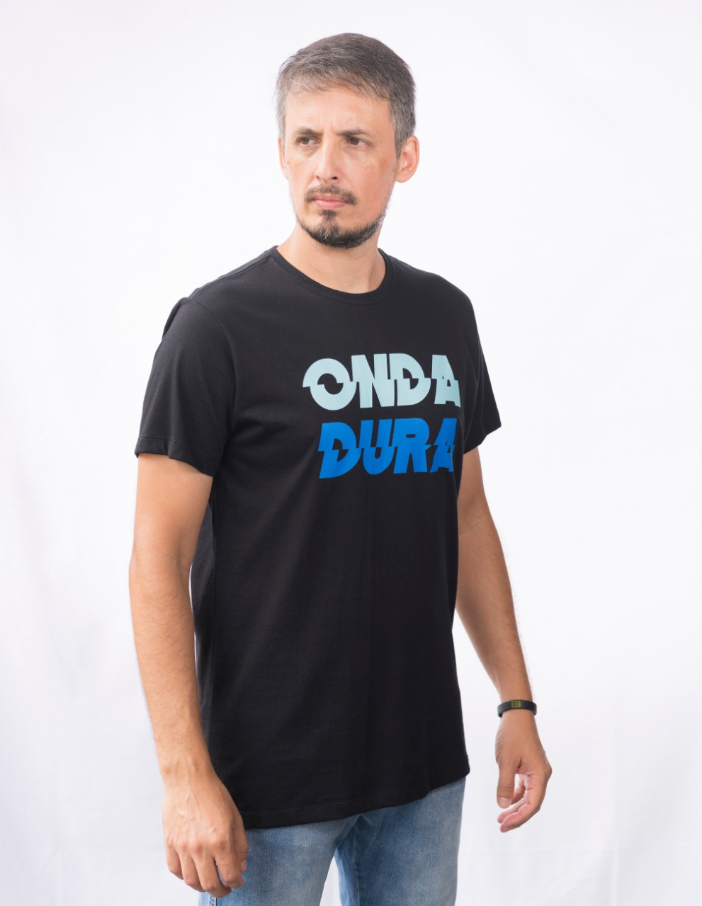 Camiseta preta Onda Dura duo azul