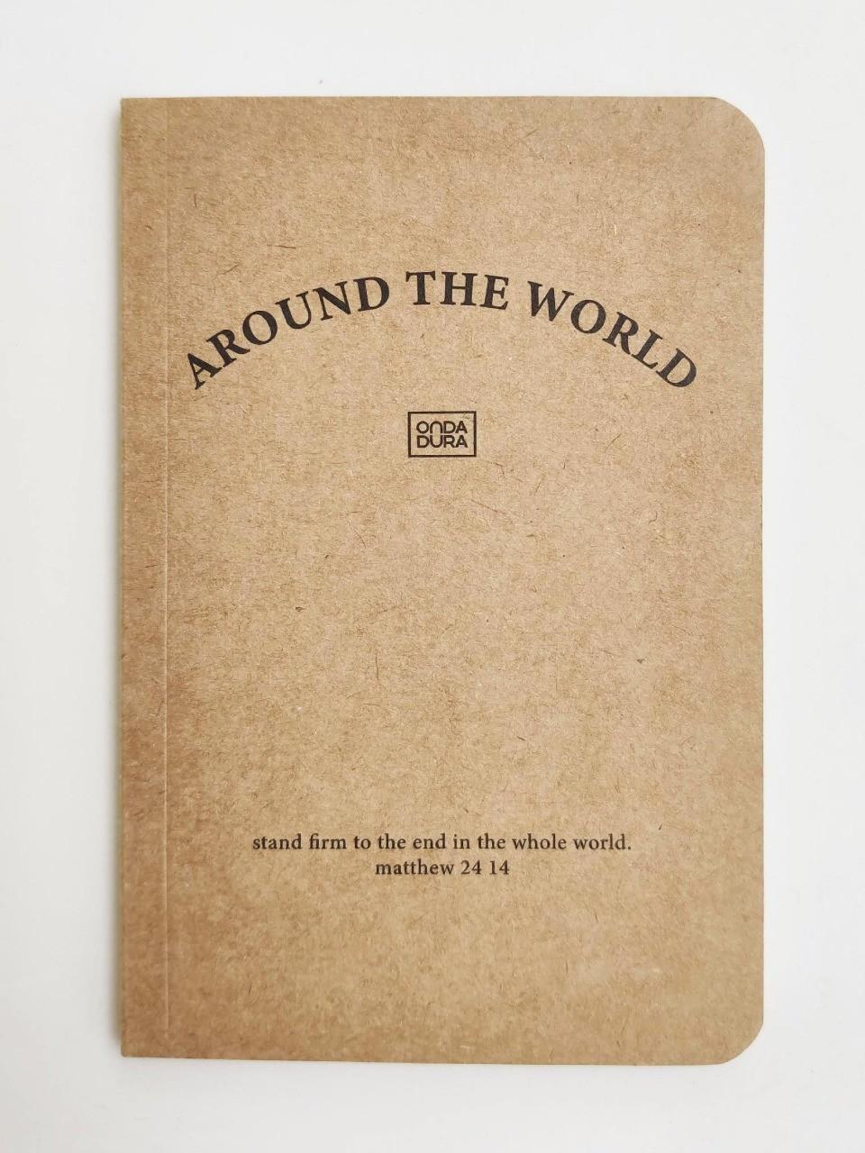 Mini caderno sem pauta kraft capa texto