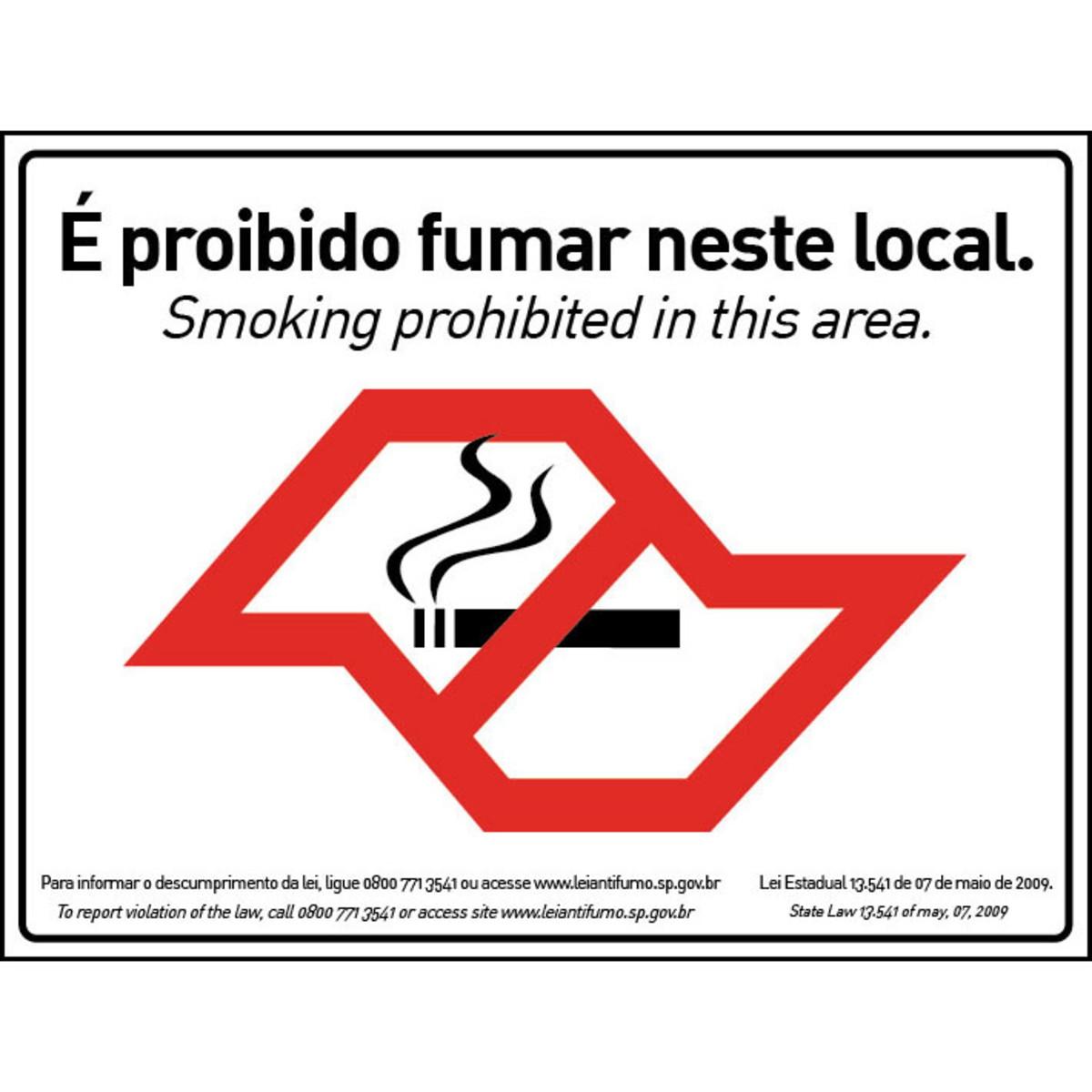 AVISO (100DJ) PROIBIDO FUMAR