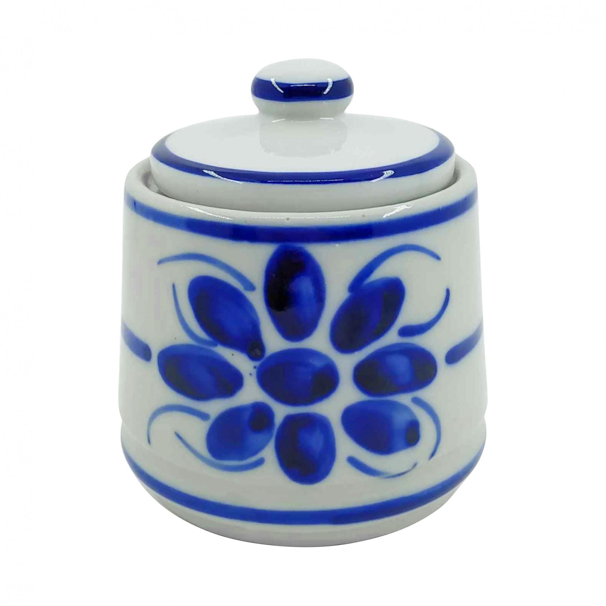 Açucareiro em Porcelana Azul Floral