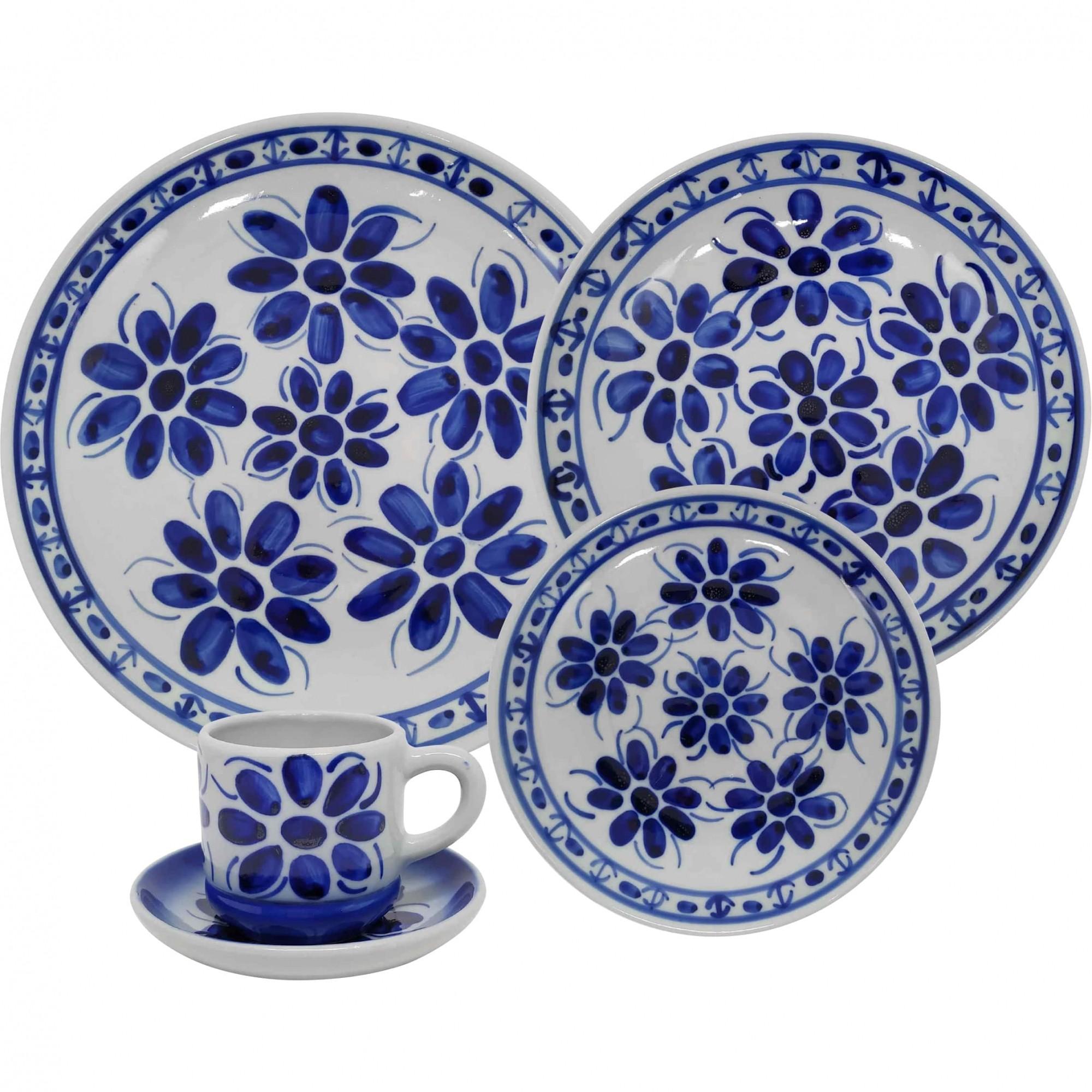 Aparelho de Jantar em Porcelana Azul Colonial