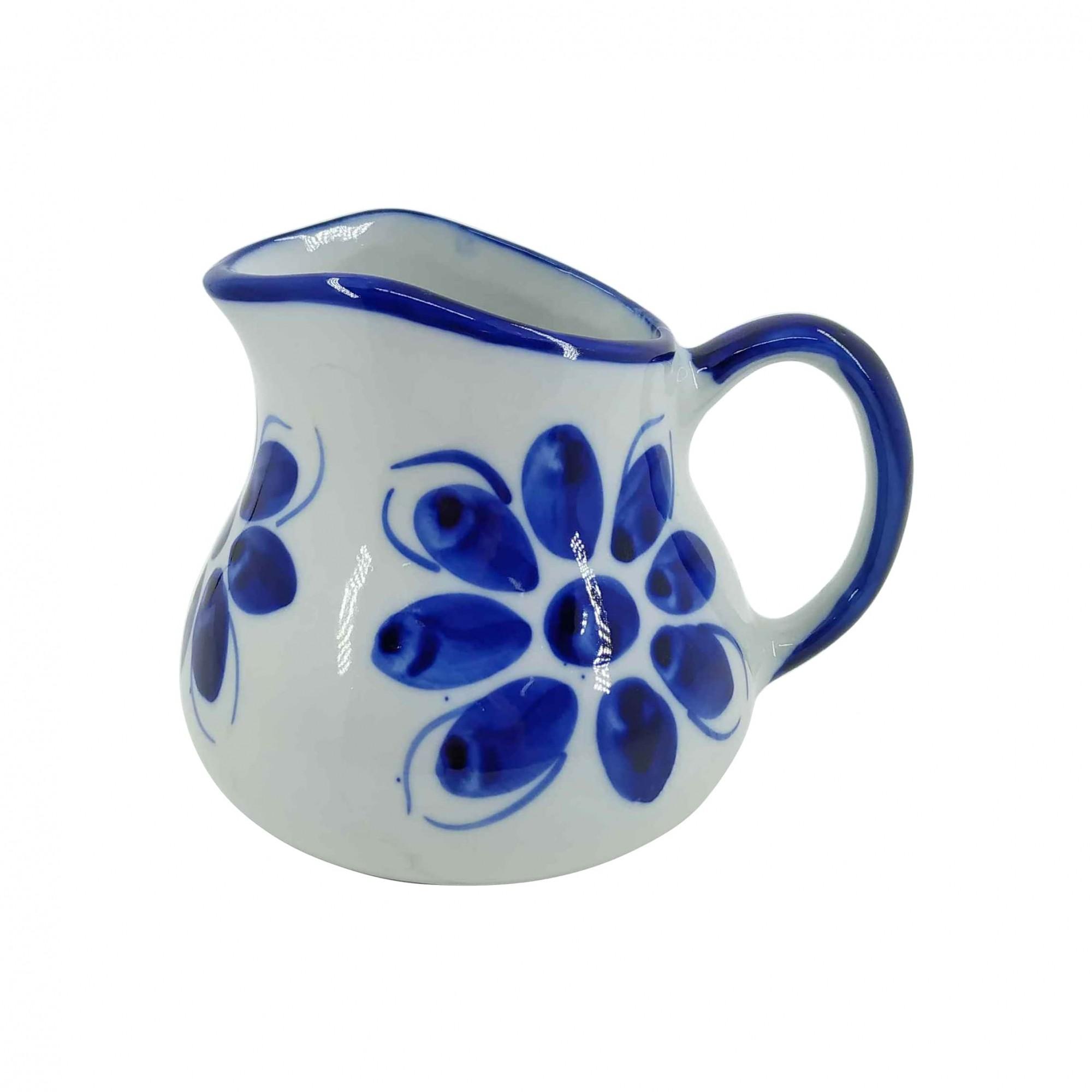 Jarra Leiteira de Porcelana Azul Colonial 600 ml