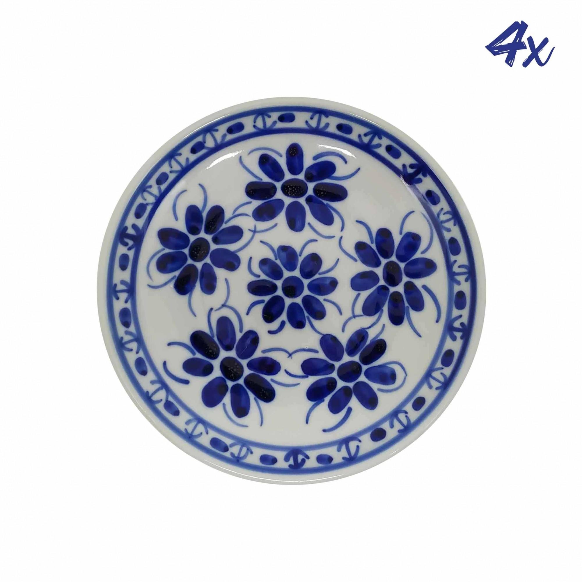 Jogo de 4 Pratos de Sobremesa 18,5 cm em Porcelana Azul Colonial
