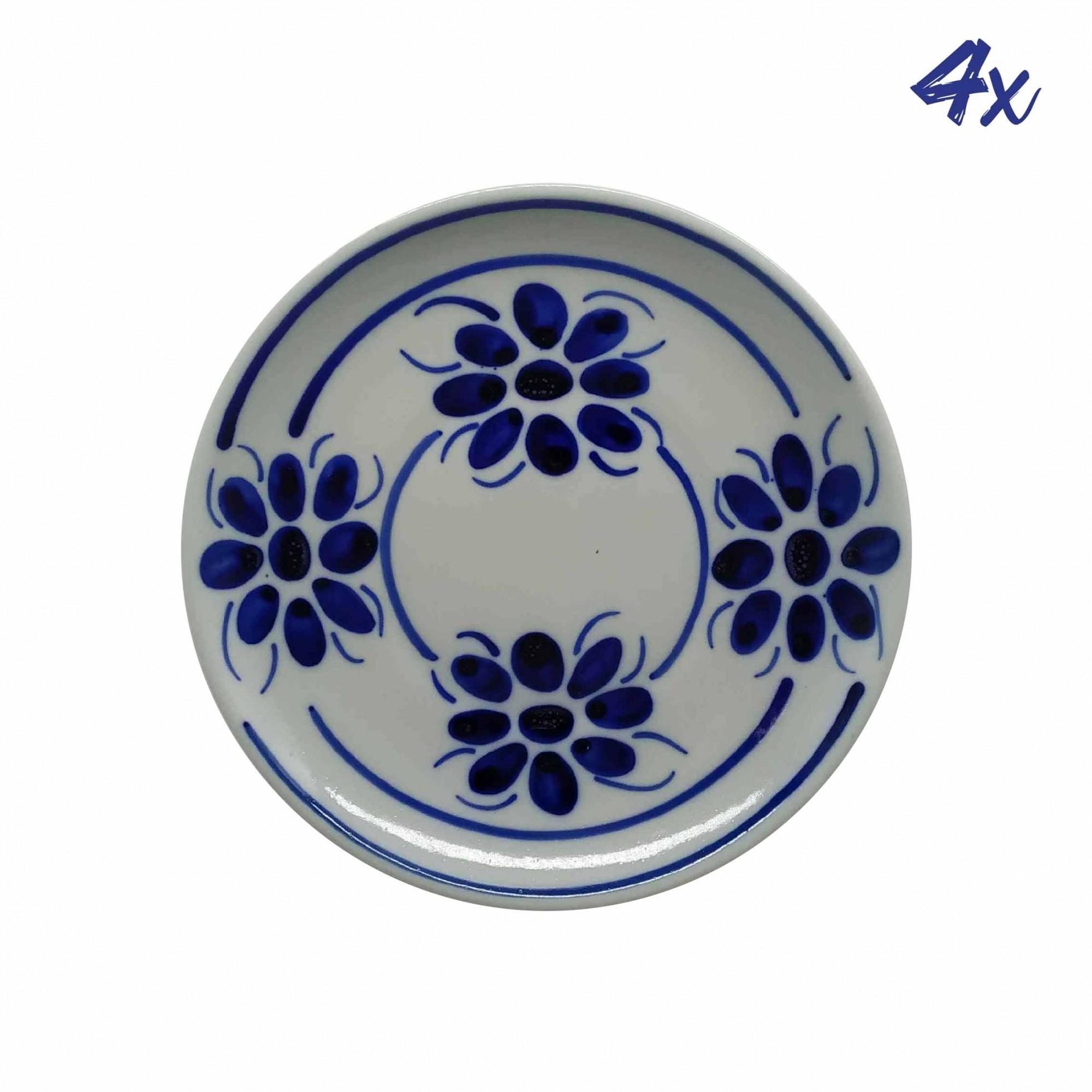 Jogo de 4 Pratos de Sobremesa 18,5 cm em Porcelana Azul Floral