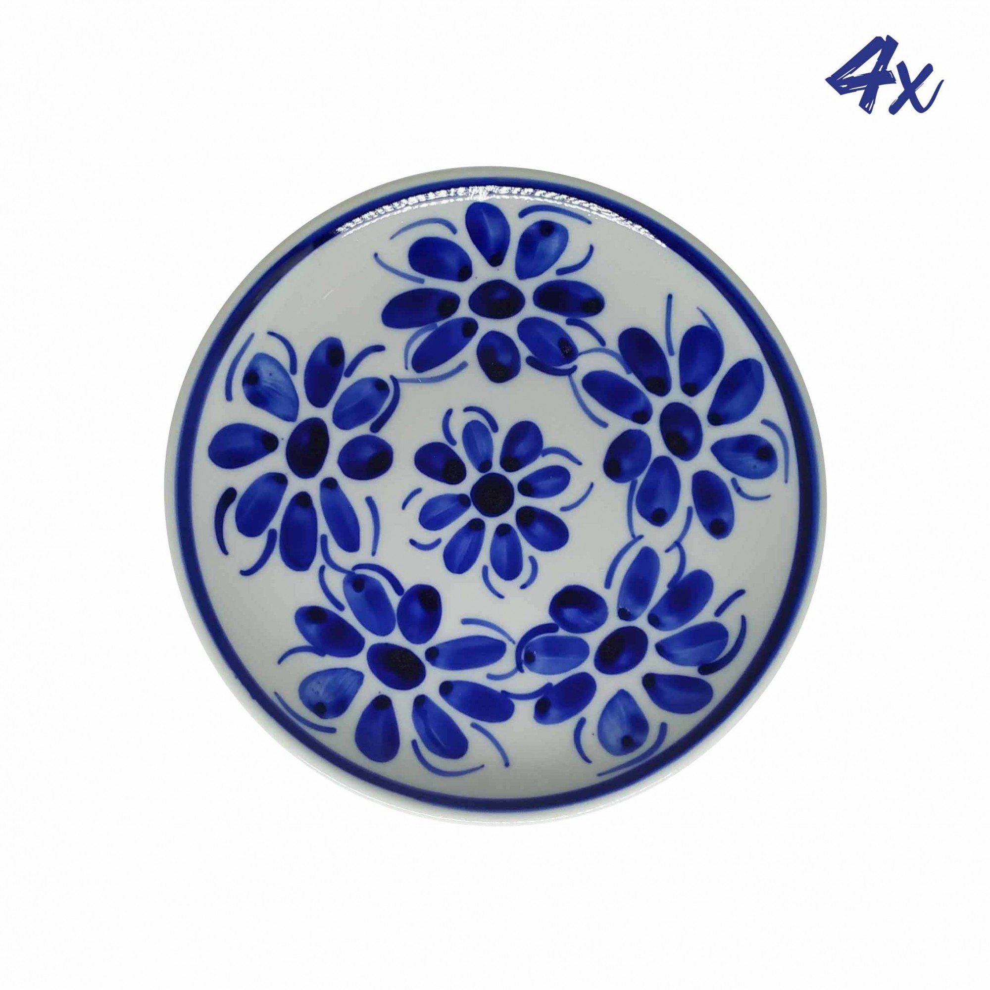 Jogo de 4 Pratos de Sobremesa 18,5 cm em Porcelana Azul Vintage