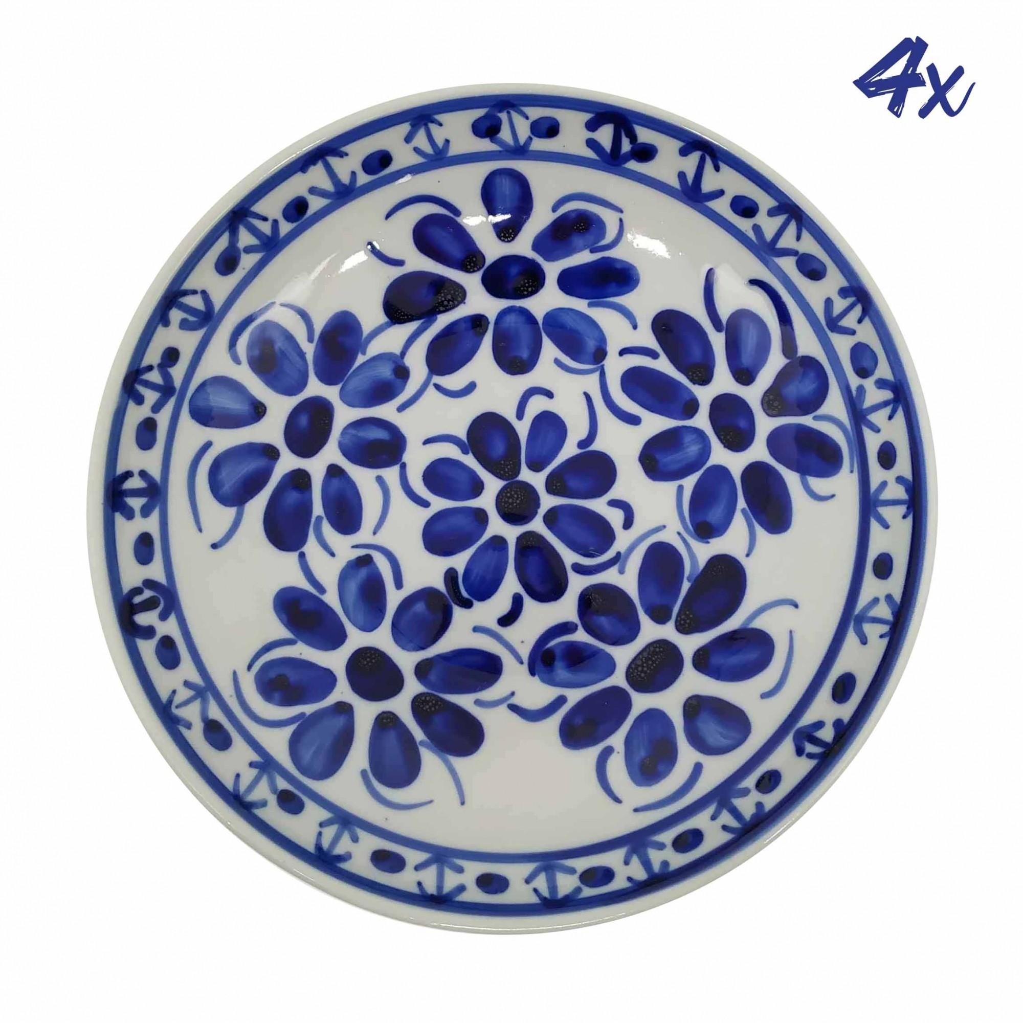 Jogo de 4 Pratos Fundos 22,5 cm Porcelana Azul Colonial