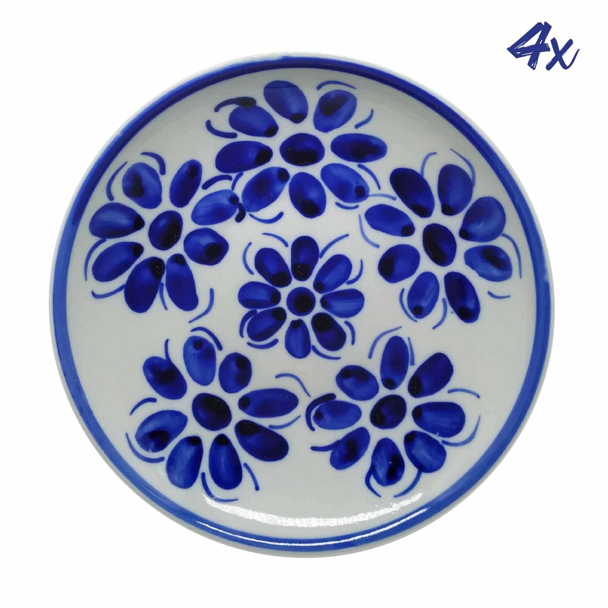 Jogo de 4 Pratos Fundos 22,5 cm Porcelana Azul Vintage