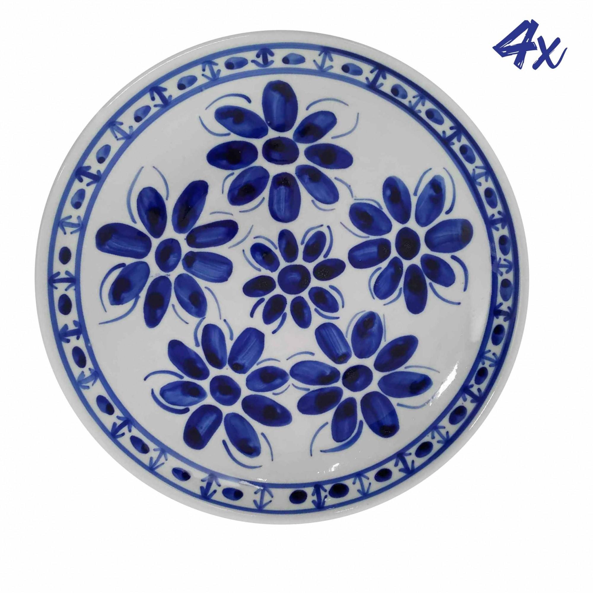 Jogo de 4 Pratos Rasos 22,5 cm Porcelana Azul Colonial