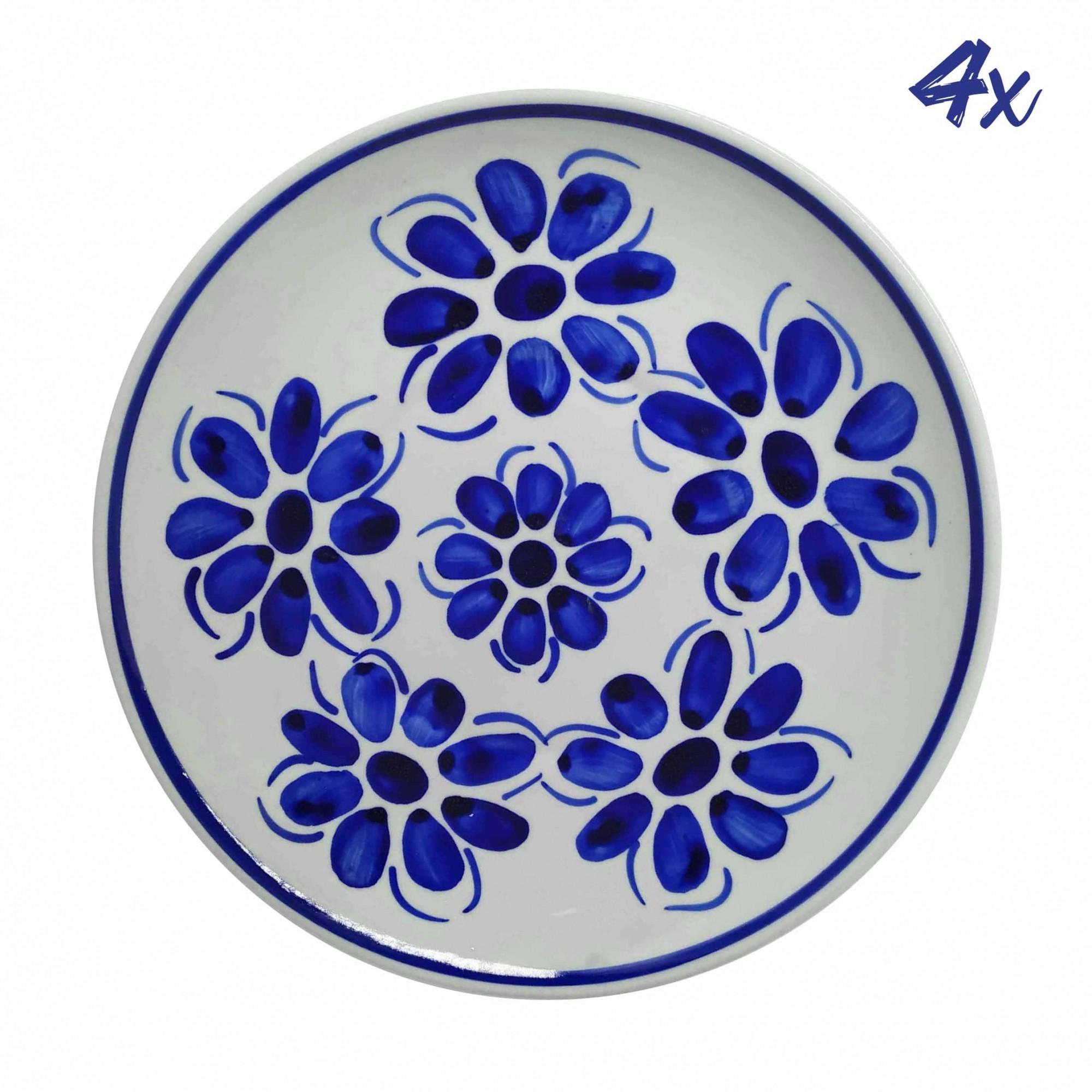 Jogo de 4 Pratos Rasos 22,5 cm Porcelana Azul Vintage