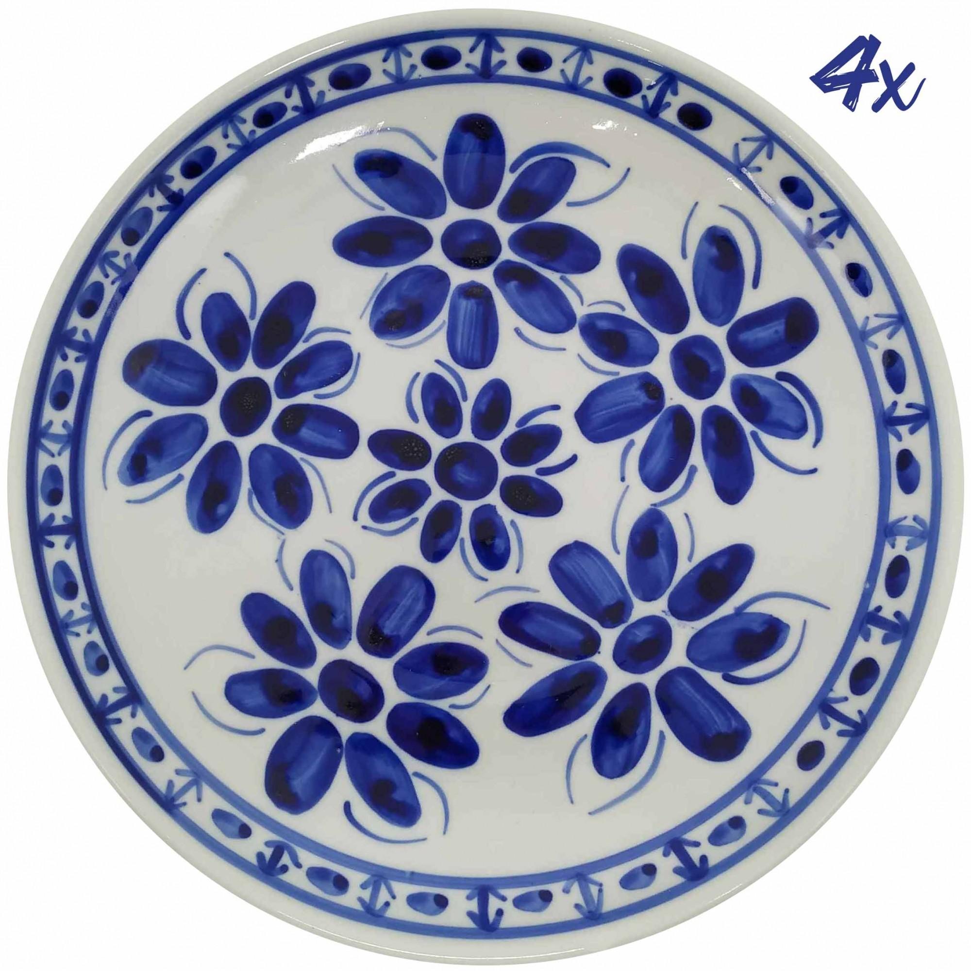 Jogo de 4 Pratos Rasos 26,5 cm Porcelana Azul Colonial