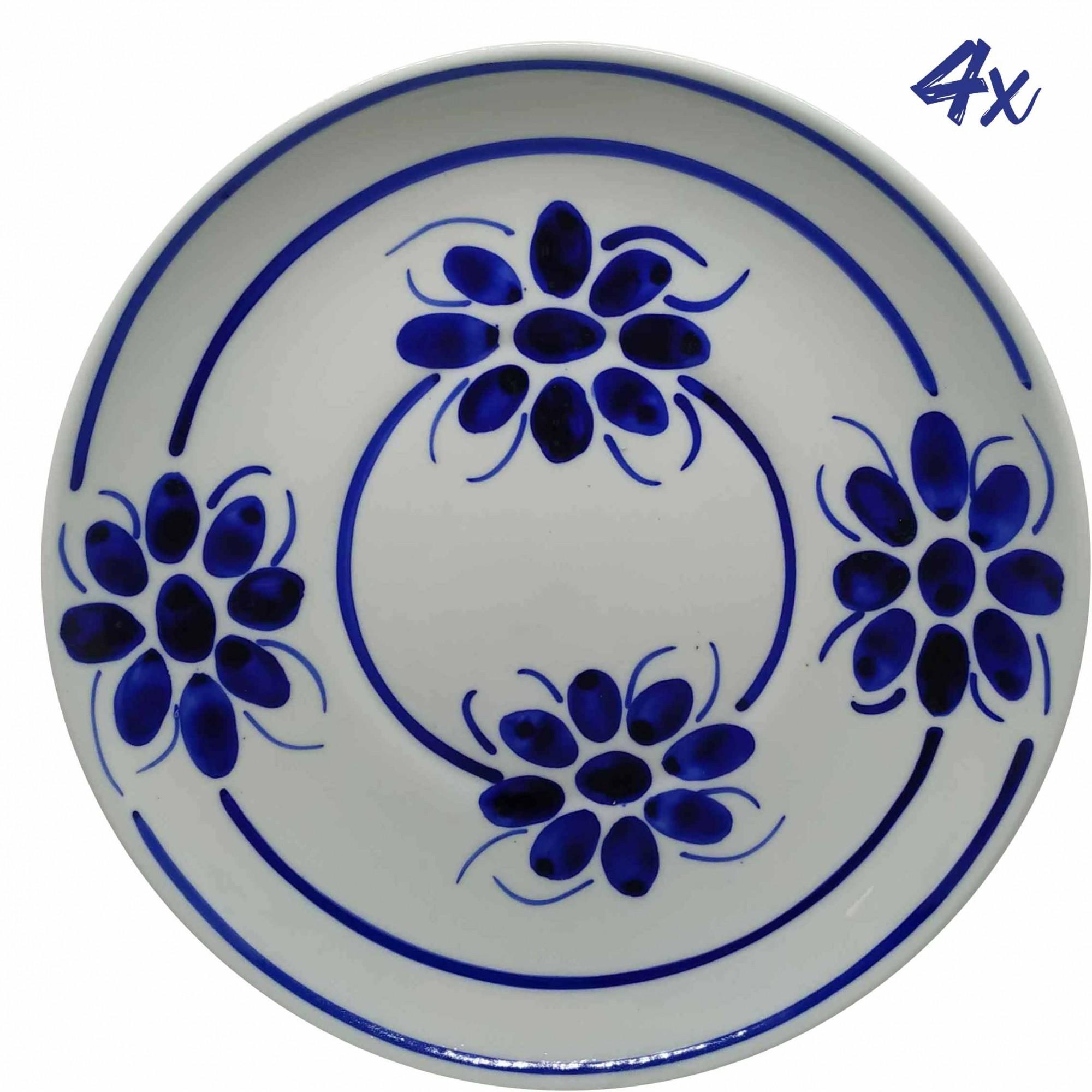 Jogo de 4 Pratos Rasos 26,5 cm Porcelana Azul Floral