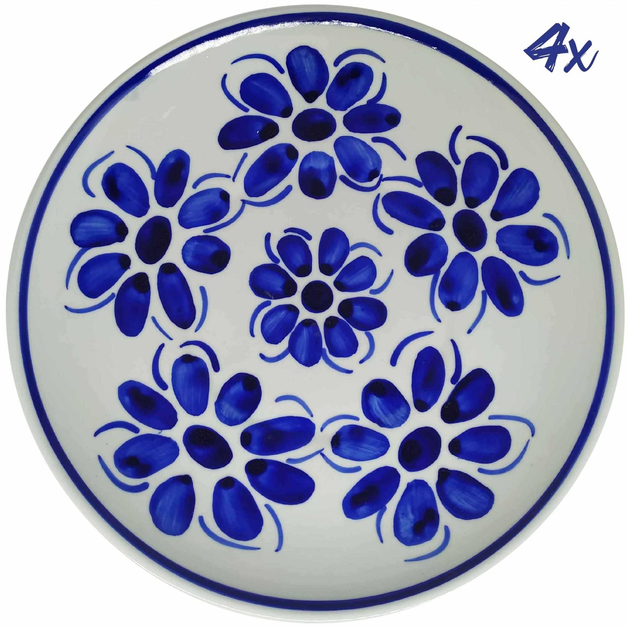 Jogo de 4 Pratos Rasos 26,5 cm Porcelana Azul Vintage