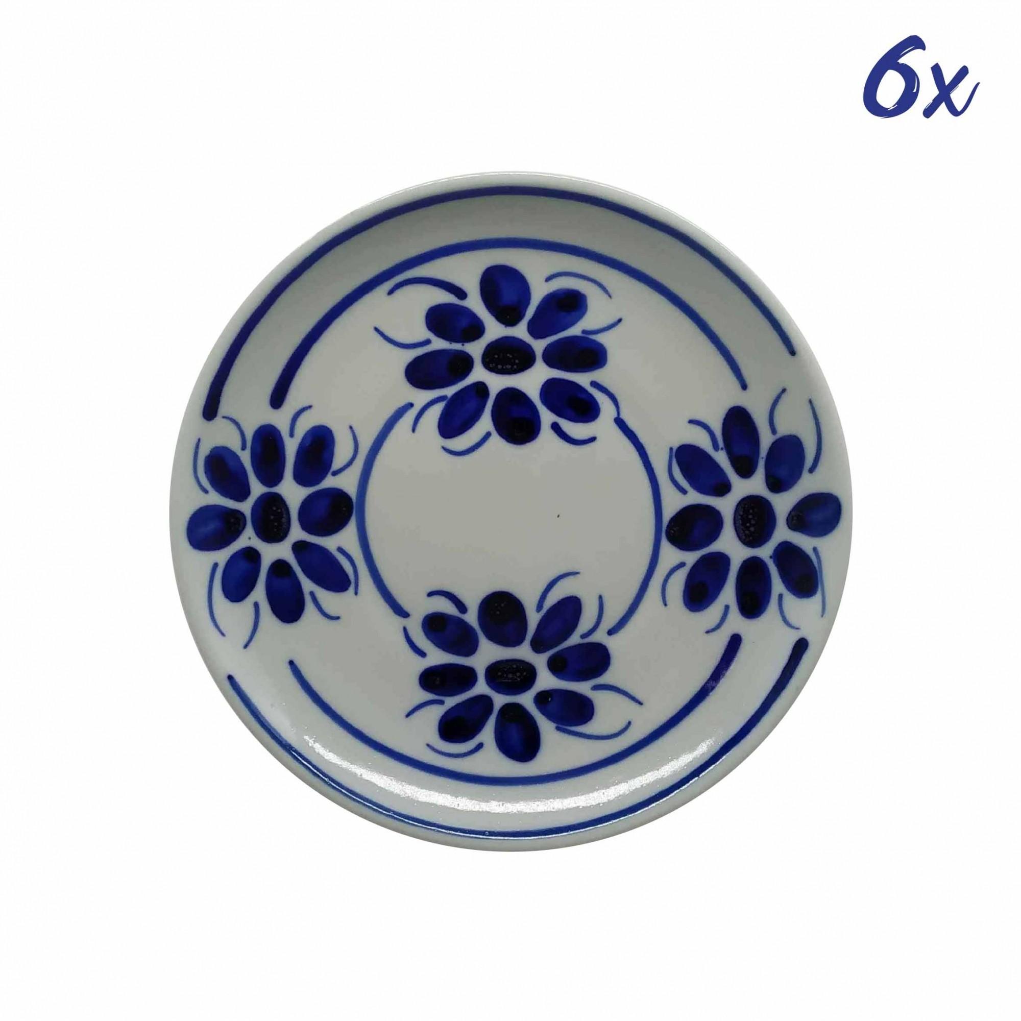Jogo de 6 Pratos de Sobremesa 18,5 cm em Porcelana Azul Floral