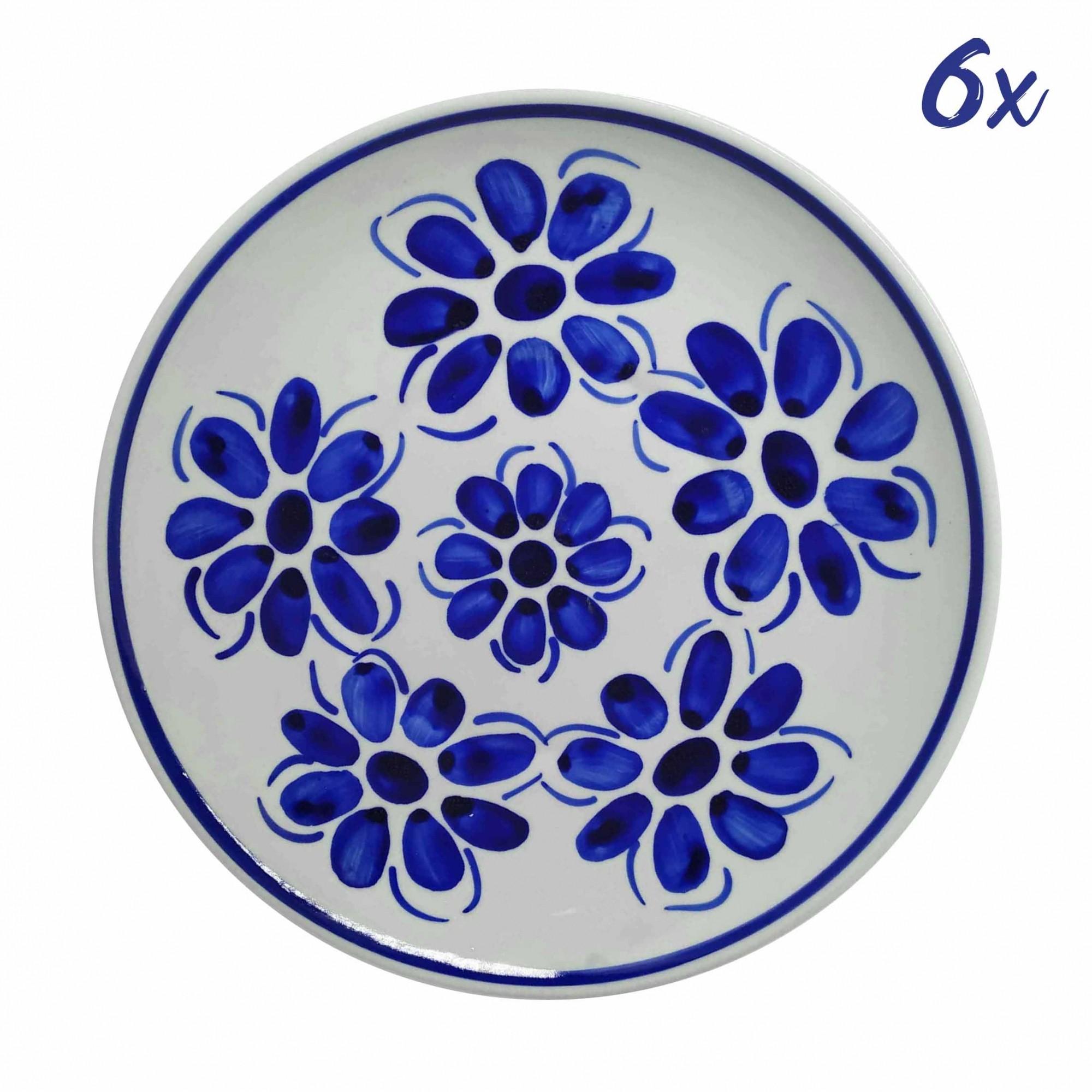 Jogo de 6 Pratos Rasos 22,5 cm Porcelana Azul Vintage