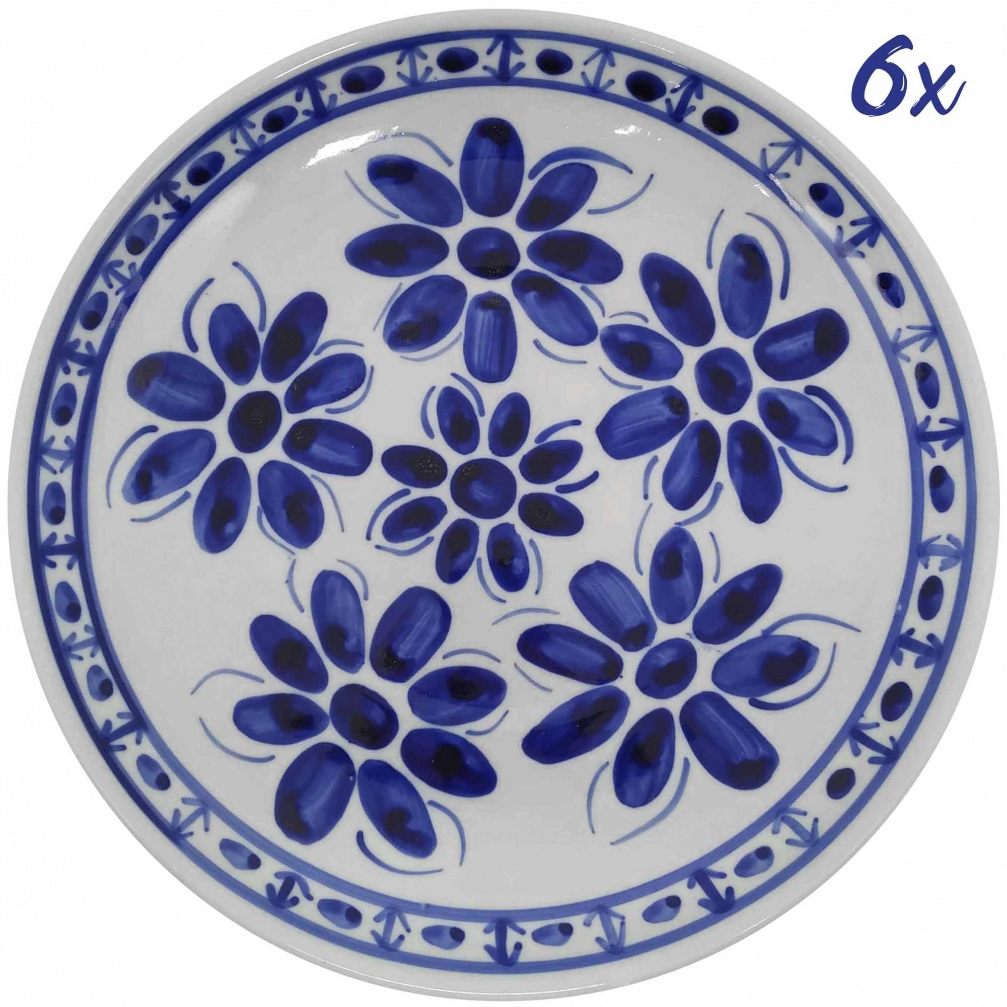 Jogo de 6 Pratos Rasos 26,5 cm Porcelana Azul Colonial