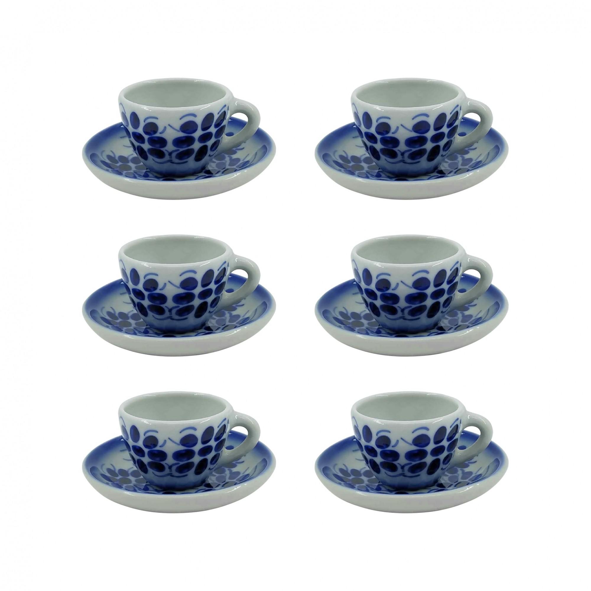 Jogo de 6 Xícaras de Café e Pires em Porcelana Azul Colonial 50 ml