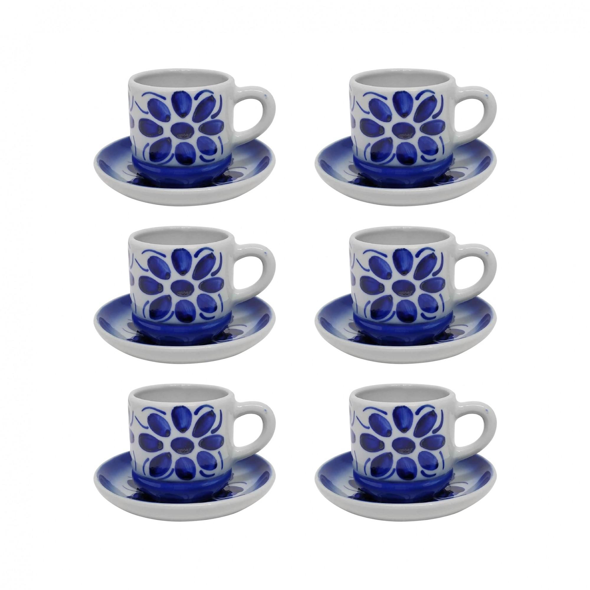 Jogo de 6 Xícaras de Café e Pires em Porcelana Azul Colonial 80 ml