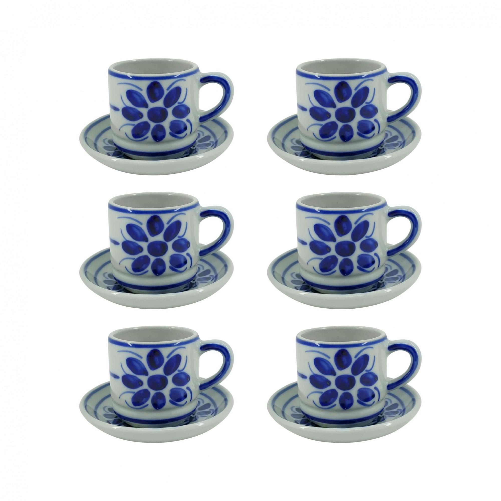 Jogo de 6 Xícaras de Café e Pires em Porcelana Azul Floral 80 ml