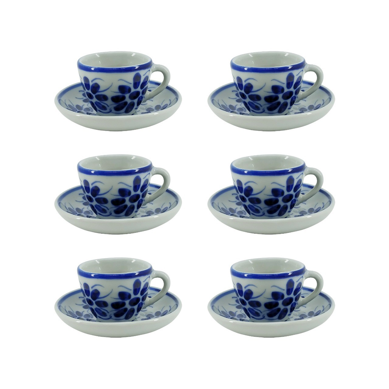 Jogo de 6 Xícaras de Café e Pires em Porcelana Azul Vintage 50 ml
