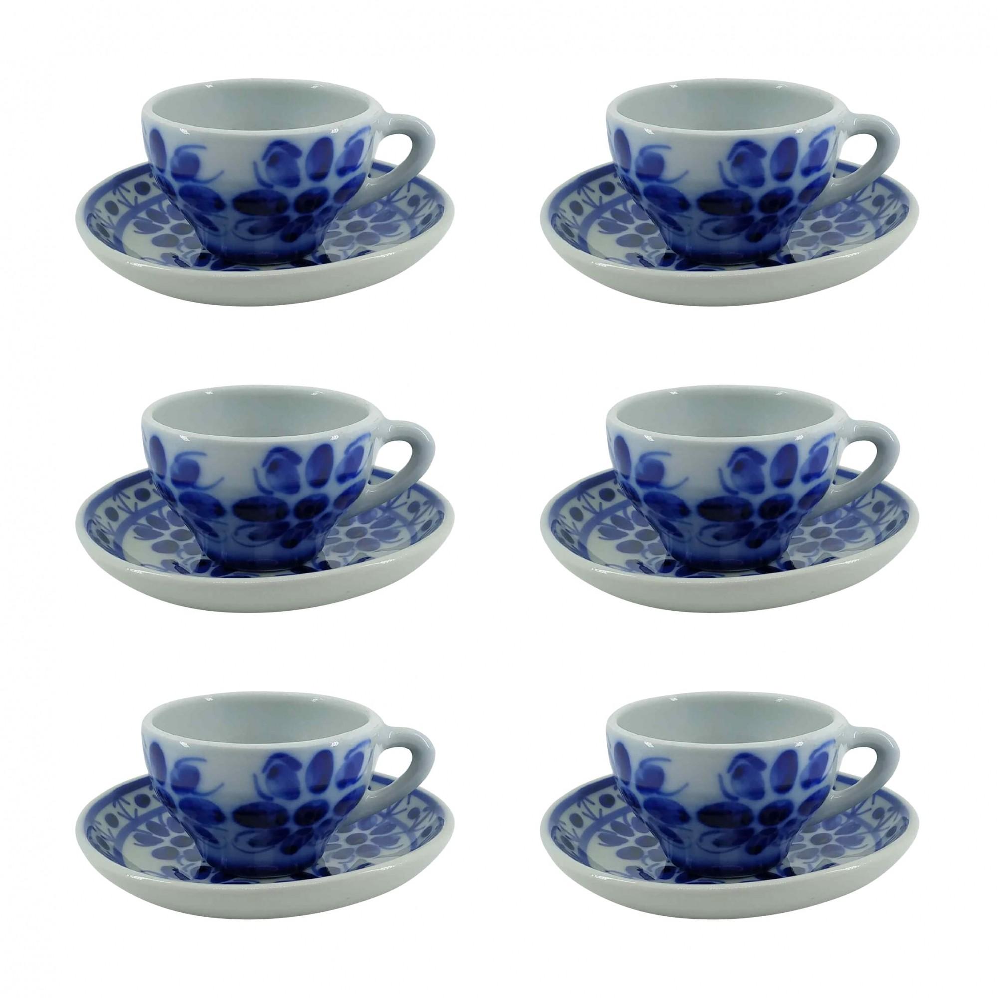 Jogo de 6 Xícaras de Chá e Pires em Porcelana Azul Colonial 120 ml