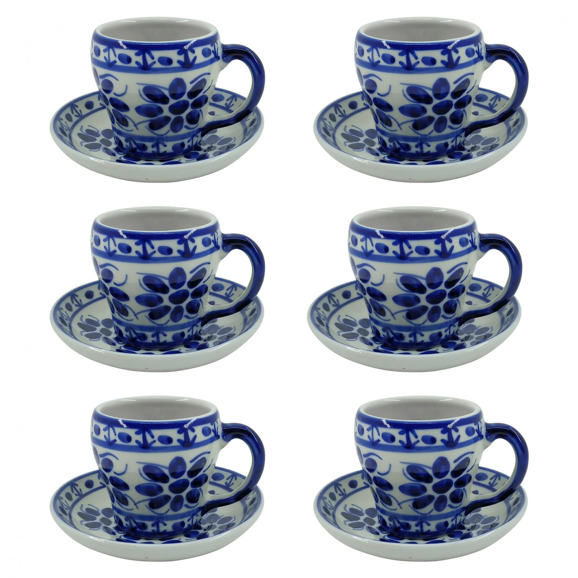 Jogo de 6 Xícaras de Chá e Pires em Porcelana Azul Colonial 200 ml