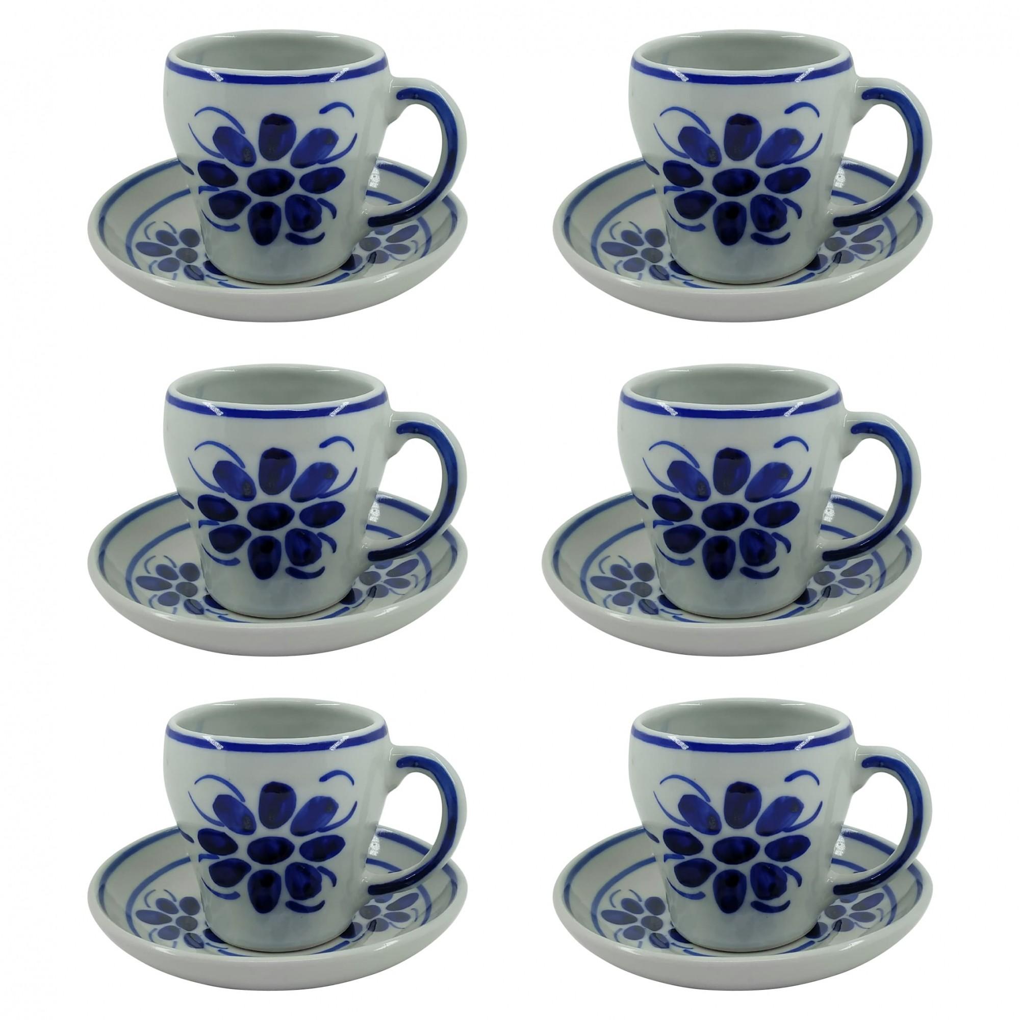 Jogo de 6 Xícaras de Chá e Pires em Porcelana Azul Floral 200 ml