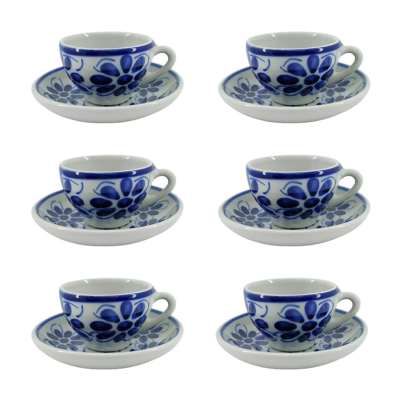 Jogo de 6 Xícaras de Chá e Pires em Porcelana Azul Vintage 120 ml