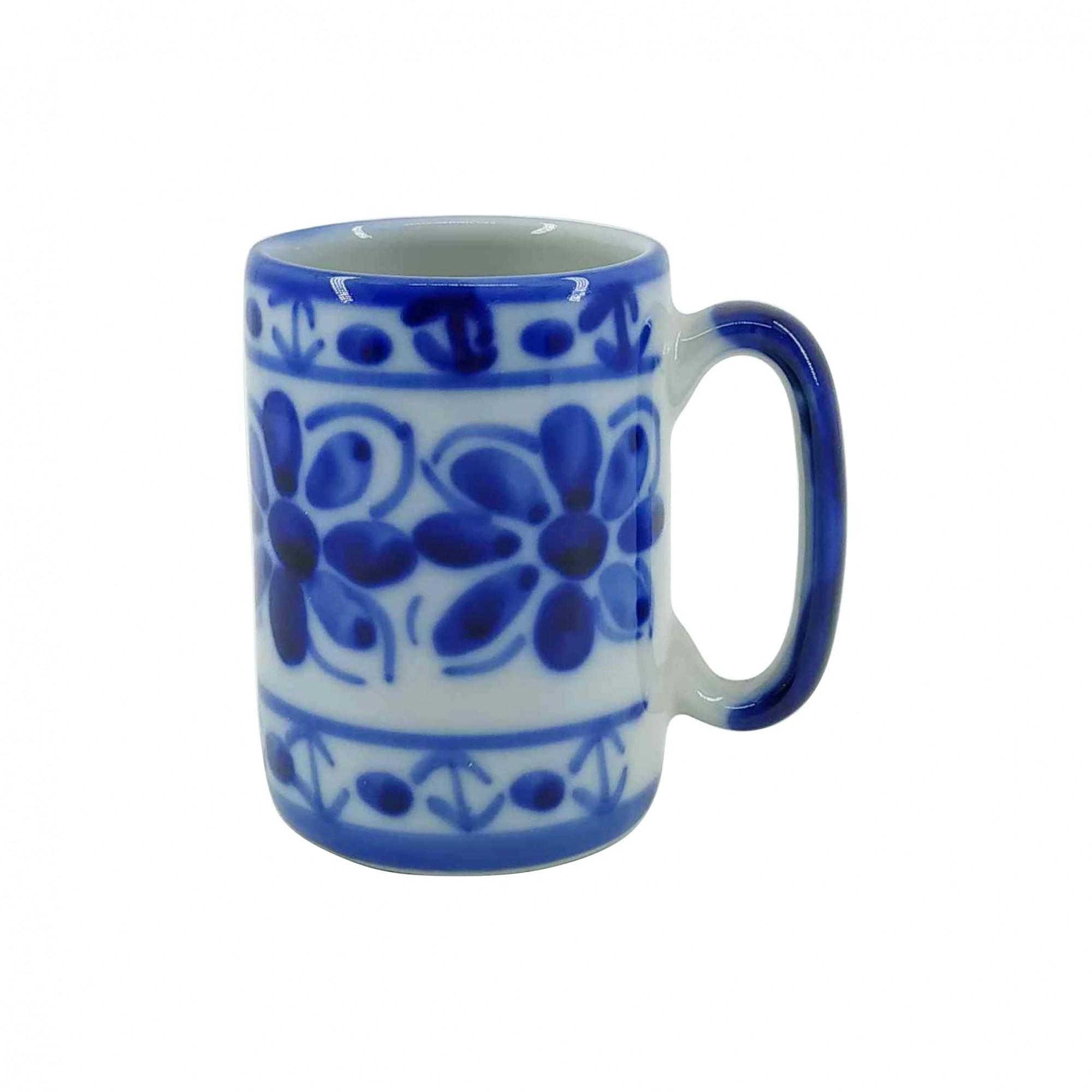 Jogo de Canecas em Porcelana Azul Colonial 200 ml