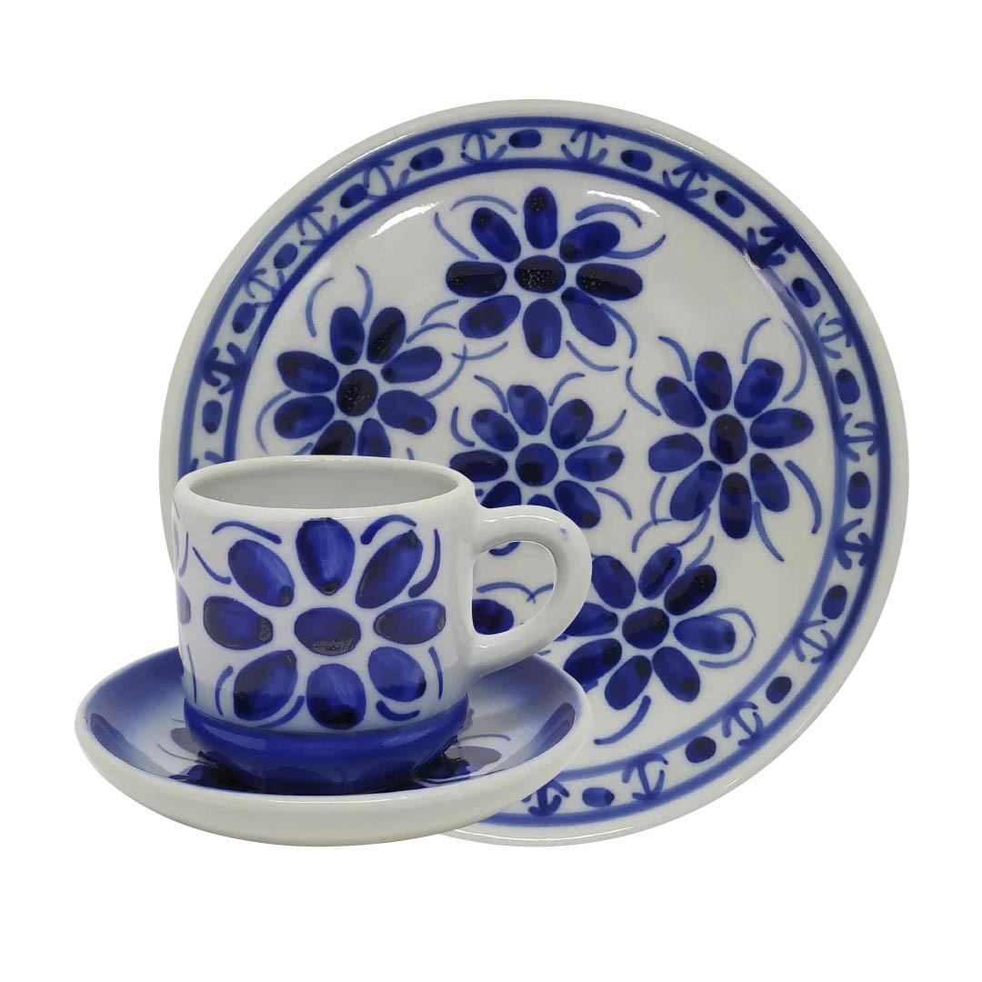 Jogo de Chá e Café em Porcelana Azul Colonial