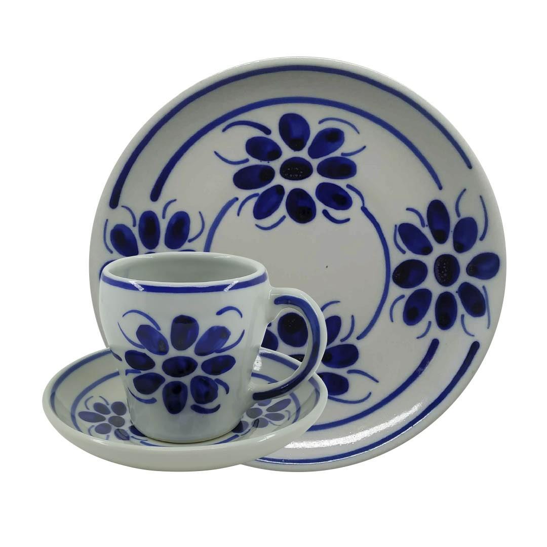 Jogo de Chá e Café em Porcelana Azul Floral
