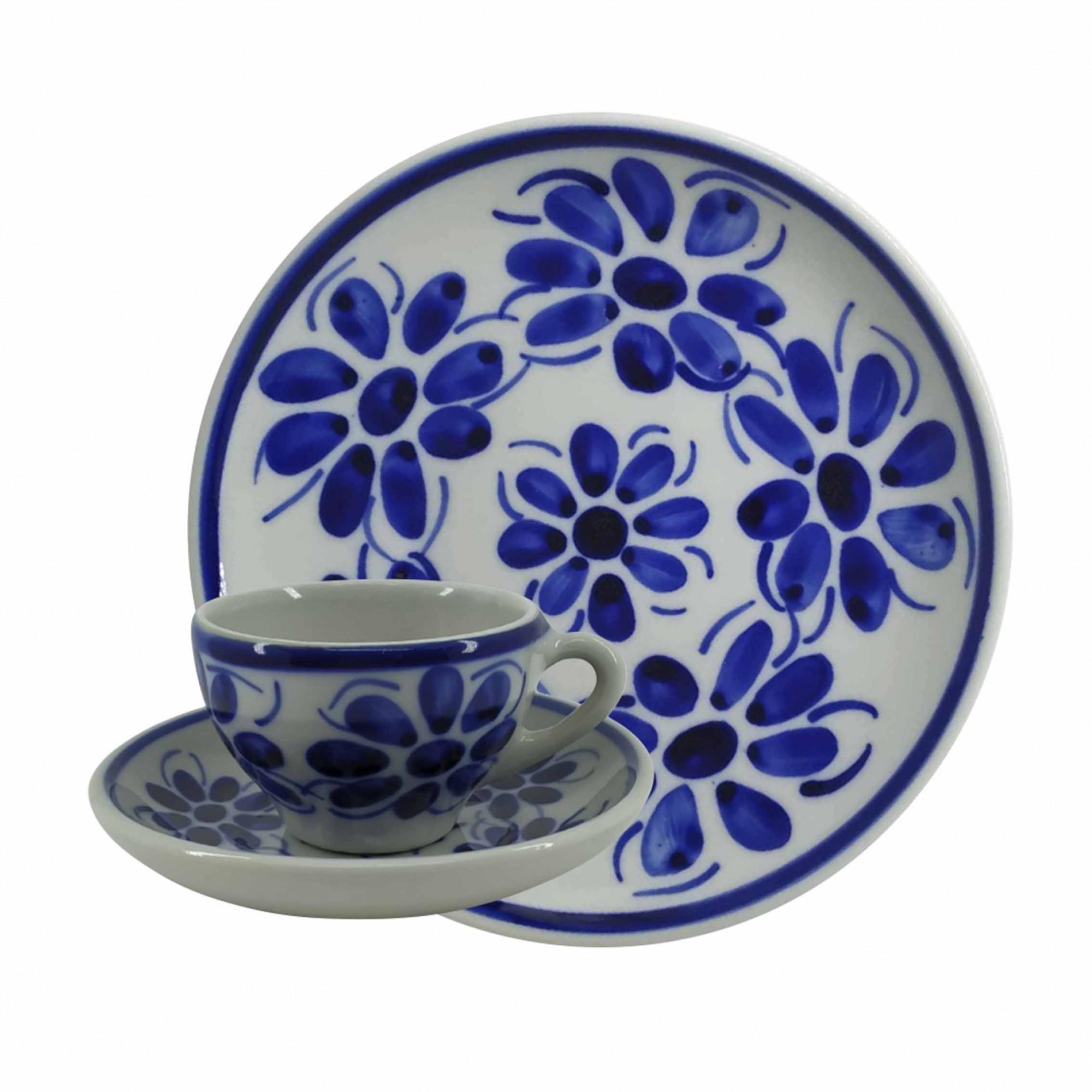 Jogo de Chá e Café em Porcelana Azul Vintage