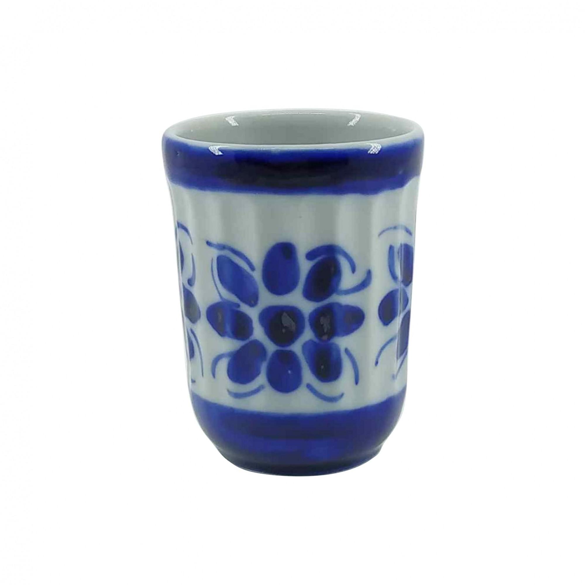Jogo de Copos Americanos em Porcelana Azul Colonial 180 ml