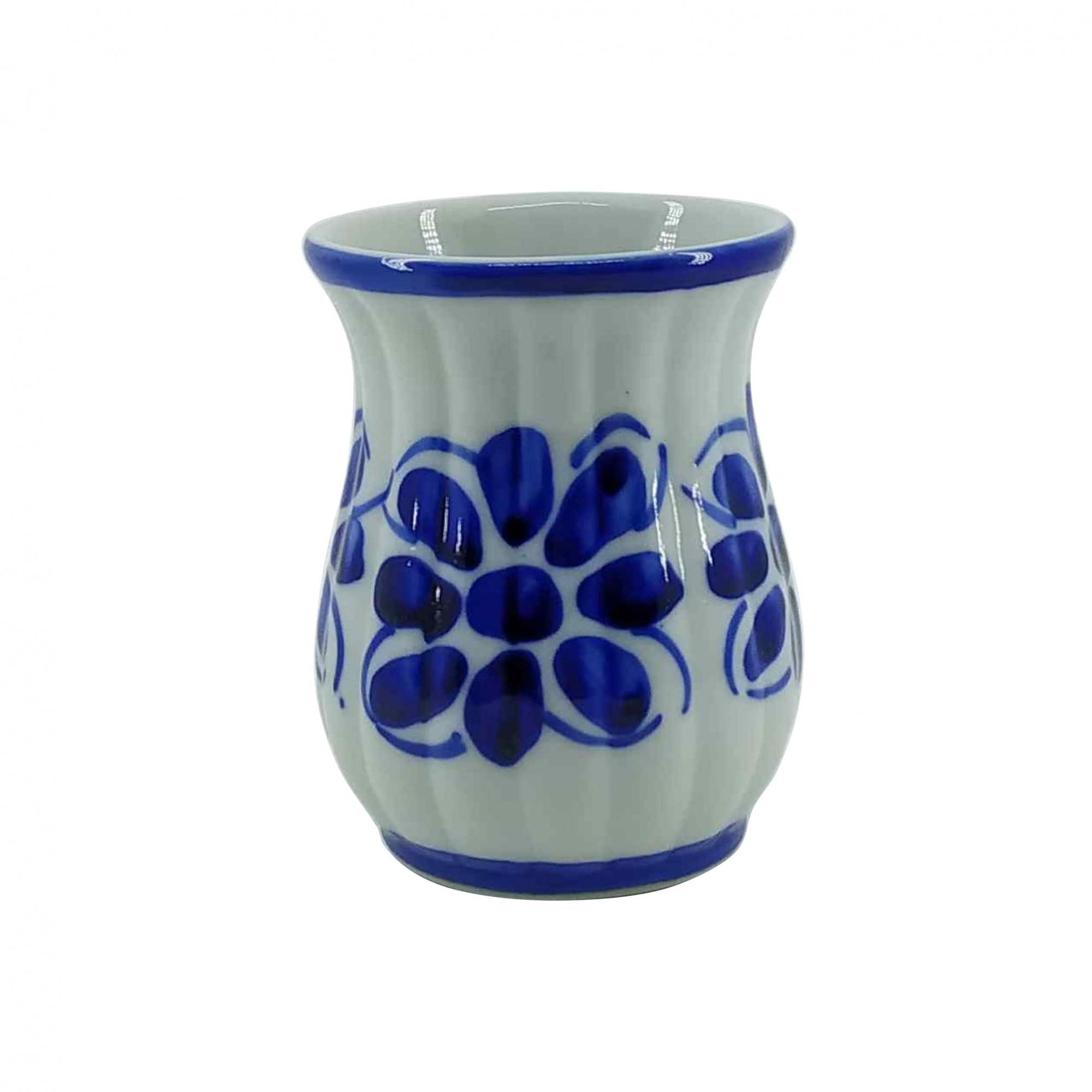 Jogo de Copos em Porcelana Azul Colonial 200 ml