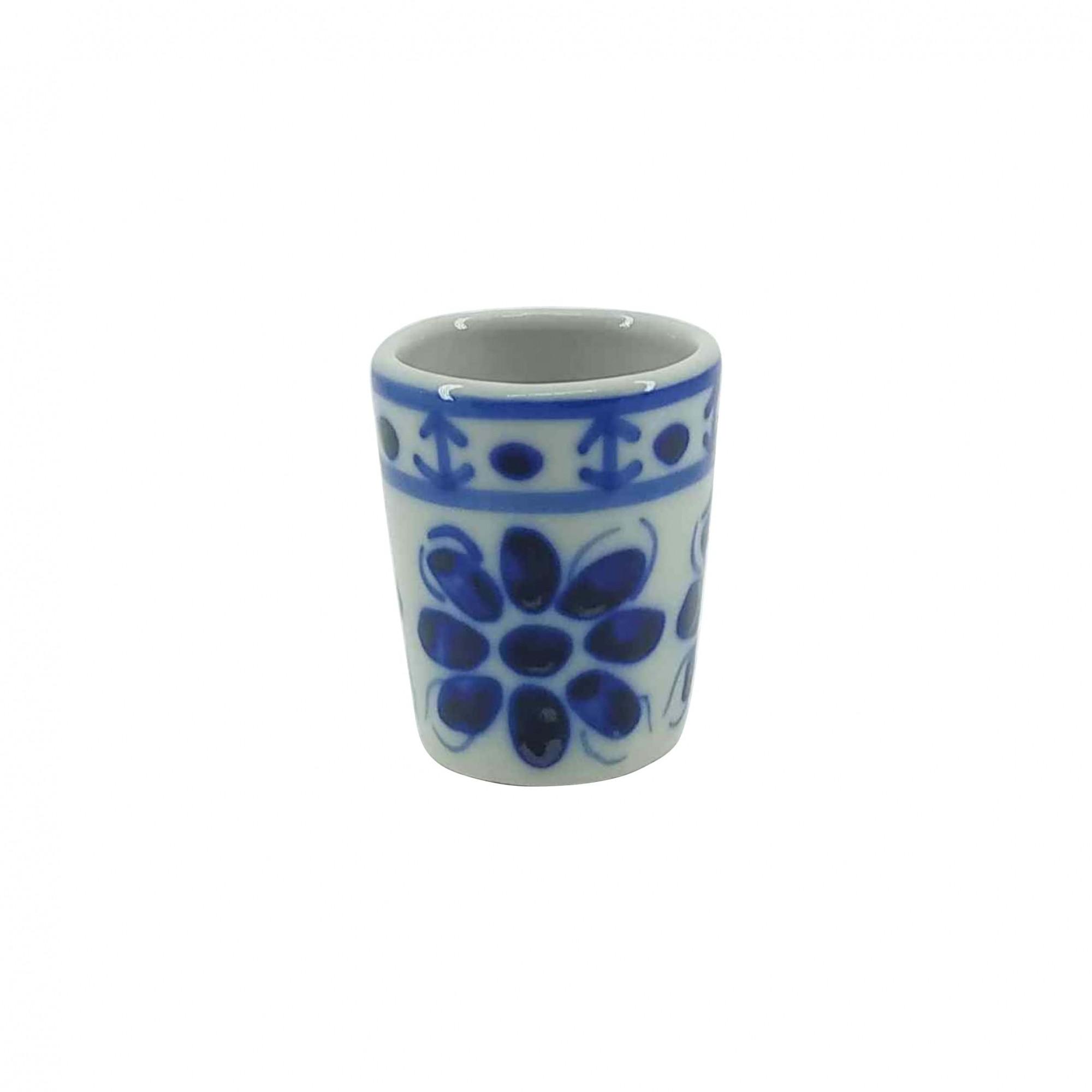 Jogo de Copos Shot em Porcelana Azul Colonial 50 ml