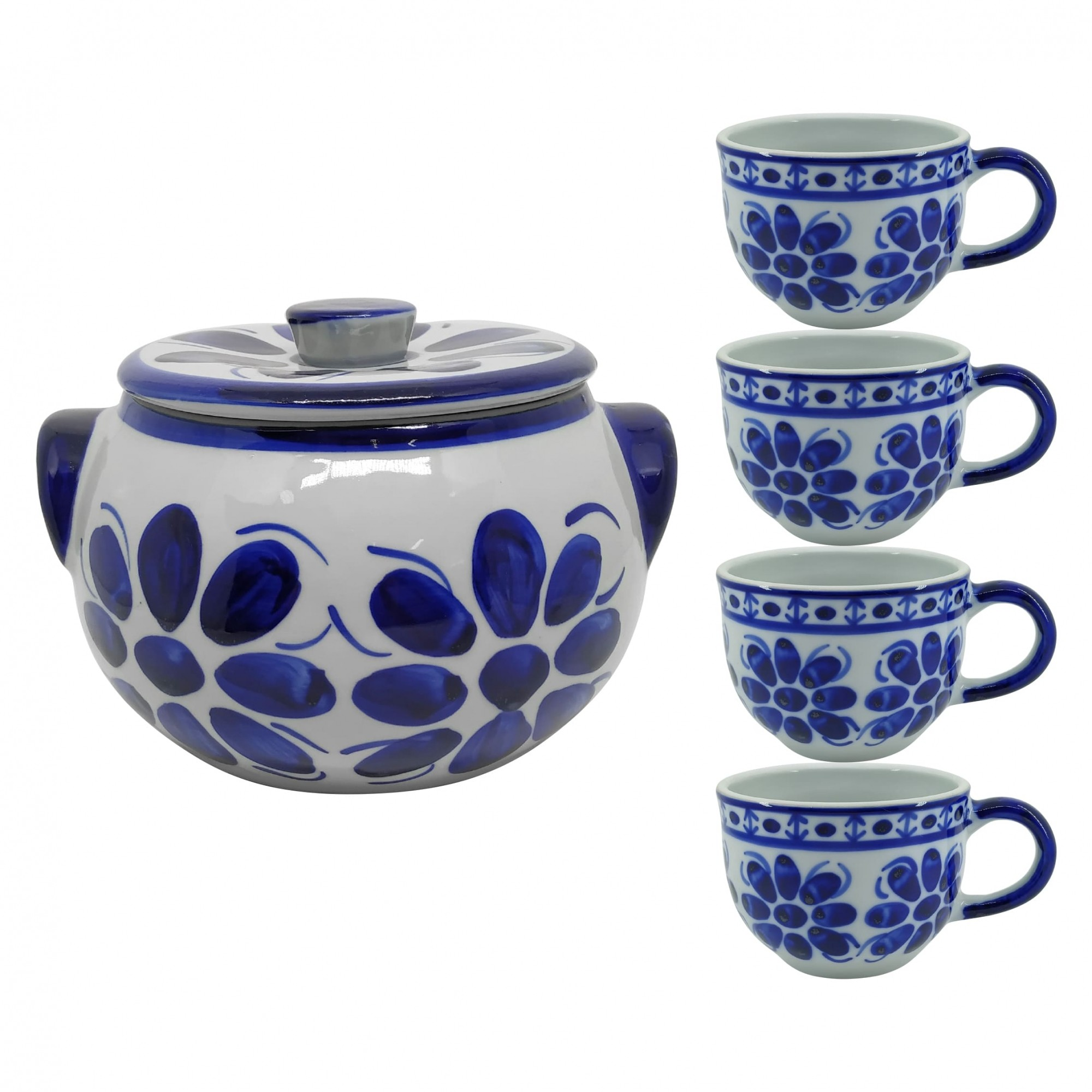Jogo de Sopa em Porcelana Azul Colonial 7 peças