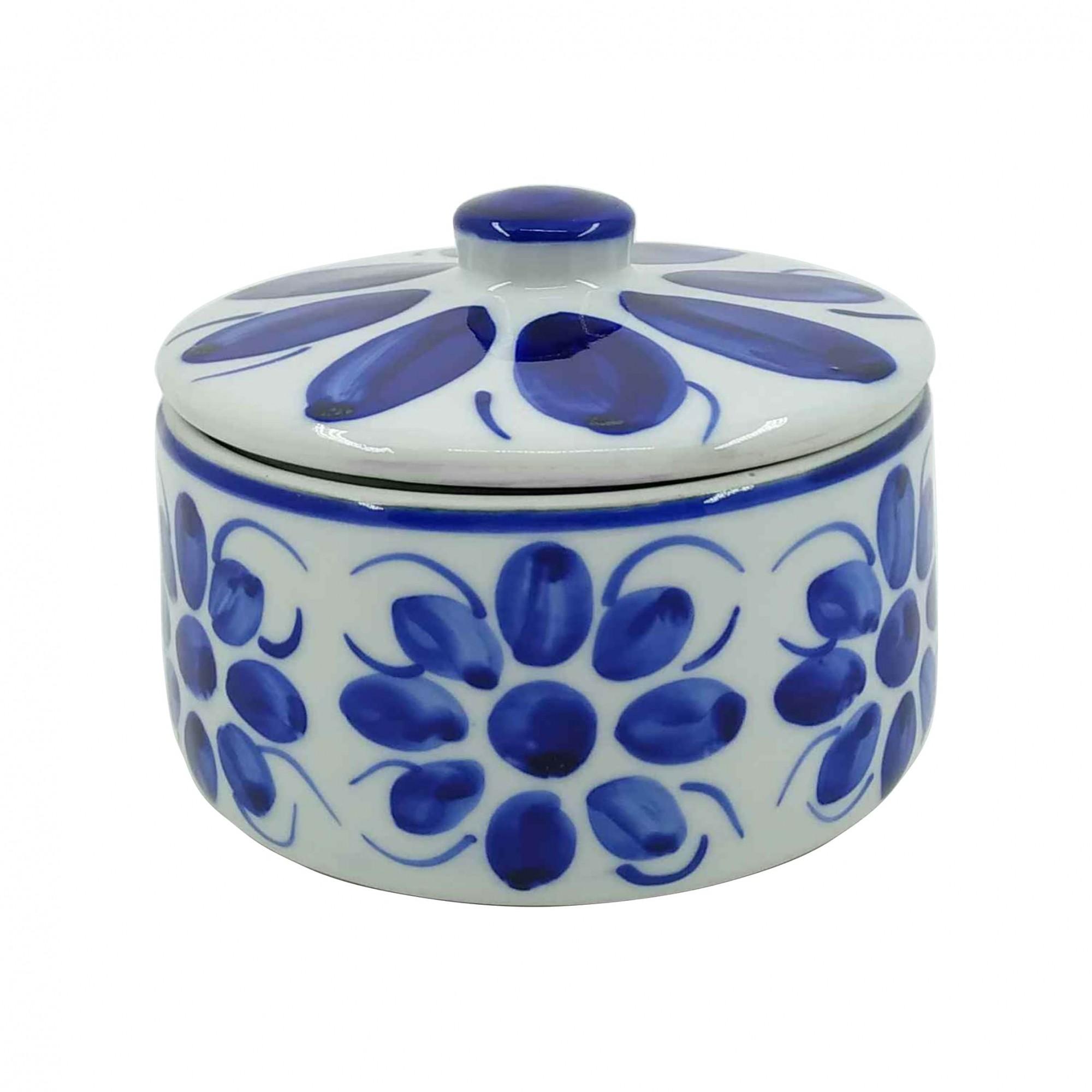 Manteigueira Redonda em Porcelana Azul Colonial