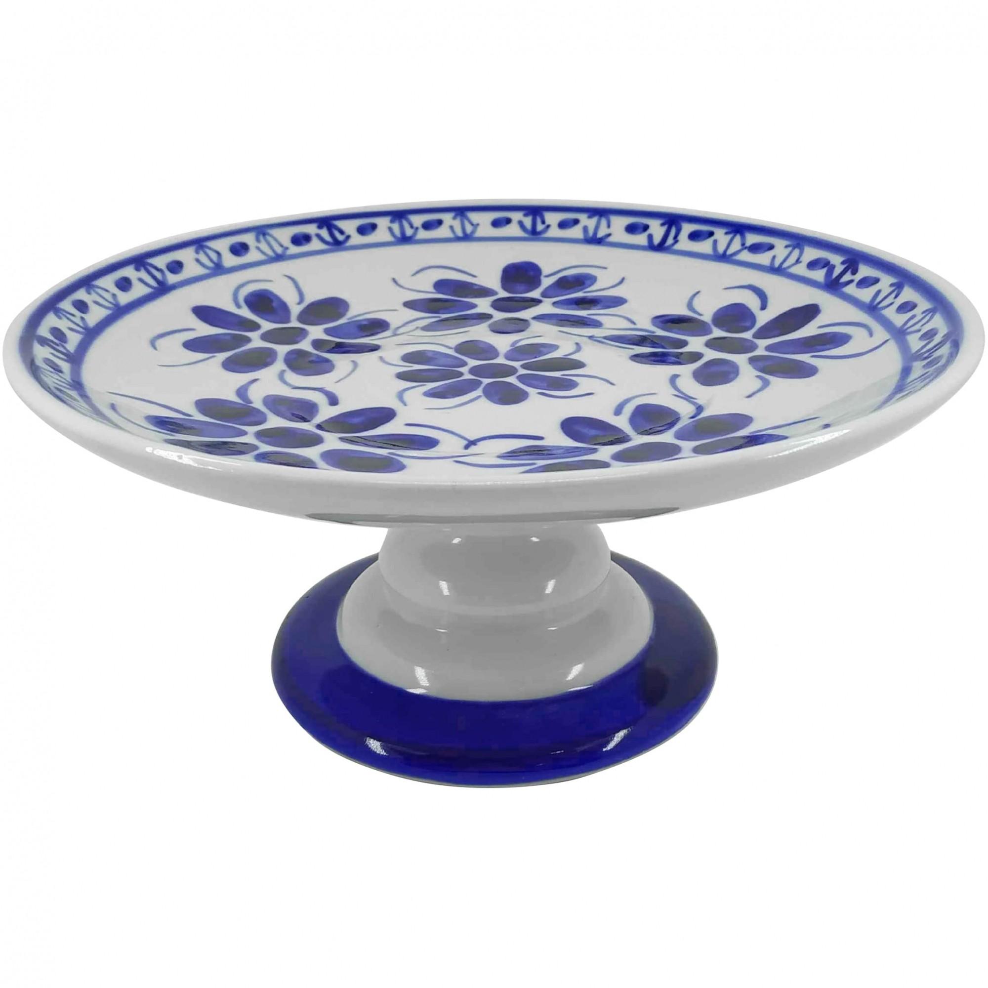 Prato Bolo Boleira em Porcelana Azul Colonial 27 cm
